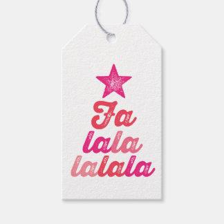 Ombre Pink Modern Falalalala Fun Holiday Gift Tag