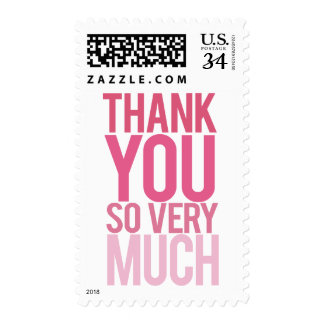 Ombre Pink Typography Thank You Postage Stamps