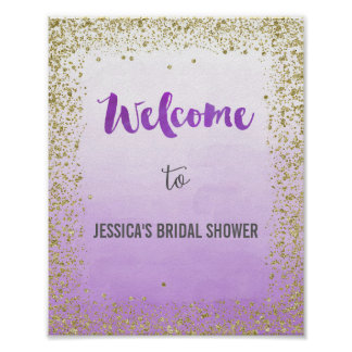 Ombre Purple and Gold Welcome Poster Print