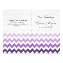 Ombre purple Chevron folded Wedding program