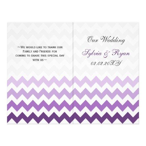 Ombre purple Chevron folded Wedding program Flyers