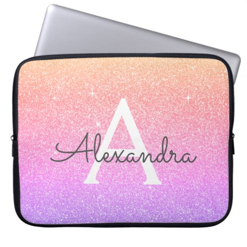 Ombre Purple Glitter and Sparkle Monogram Laptop Sleeve