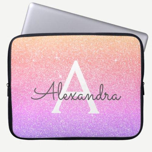 Ombre Purple Glitter and Sparkle Monogram Laptop Sleeve