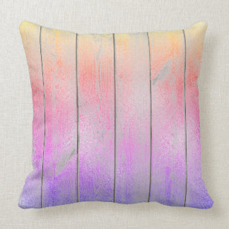 Ombre Purple Pink Glam Metallic Wood Cottage Home Throw Pillow