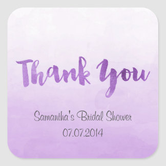 Ombre Purple Watercolor Thank You Stickers