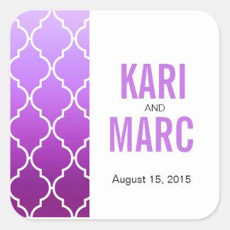 Ombre Quatrefoil Geometric Favor Decal | purple Square Sticker