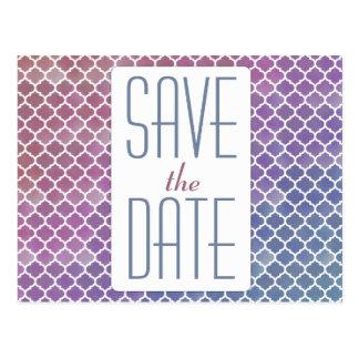 Ombre Quatrefoil Modern Wedding Save the Date Postcard