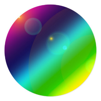 ombre rainbow Invitation Circle