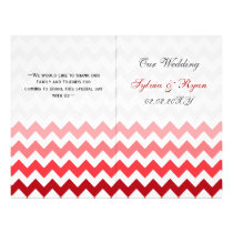 Ombre red Chevron folded Wedding program
