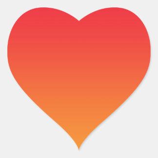 Ombre rojo y anaranjado pegatina en forma de corazón