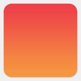 Ombre rojo y anaranjado pegatina cuadrada