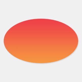 Ombre rojo y anaranjado pegatina ovalada