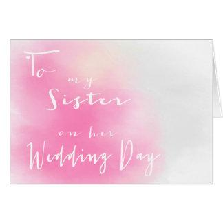 Ombre rosado - a mi hermana en su día de boda tarjeta de felicitación