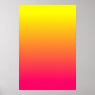 Ombre rosado amarillo-naranja póster
