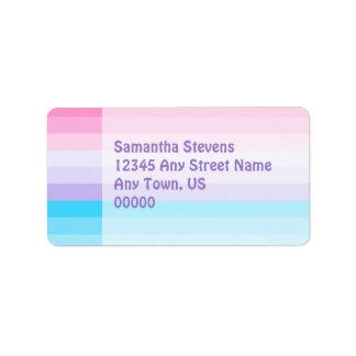 Ombre rosado, púrpura, y azul etiquetas de dirección