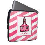 Ombre rosado raya el bolso de la electrónica para  mangas portátiles