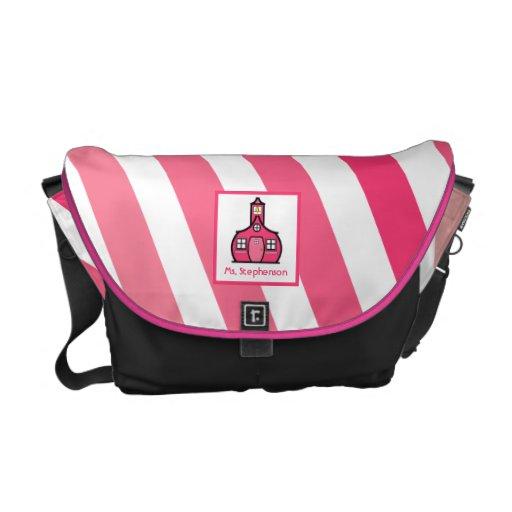 Ombre rosado raya la bolsa de mensajero del profes bolsas de mensajería