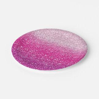 Ombre rosado reluciente plato de papel de 7 pulgadas