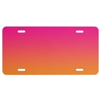 """""""Ombre rosado y anaranjado"""" Placa De Matrícula"""