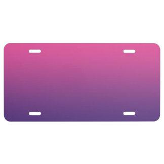 """""""Ombre rosado y púrpura"""" Placa De Matrícula"""