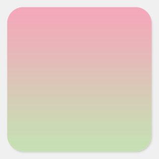 Ombre rosado y verde pegatina cuadrada