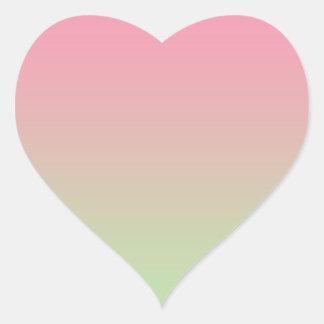Ombre rosado y verde pegatina en forma de corazón