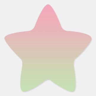 Ombre rosado y verde pegatina en forma de estrella