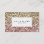"""Ombre Rose Pink Gold Glitter Girly Business Cards<br><div class=""""desc"""">Glamorous and girly business cards with a faux gold,  pink and rose gold glitter ombre design. Perfect for makeup artists,  jewelry designers,  cosmetologists and fashion stylists.</div>"""