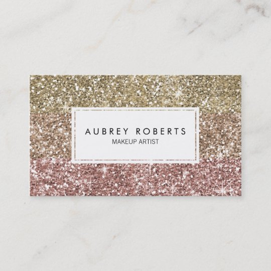 ombre rose pink gold glitter girly business cards - Zazzle Business Cards