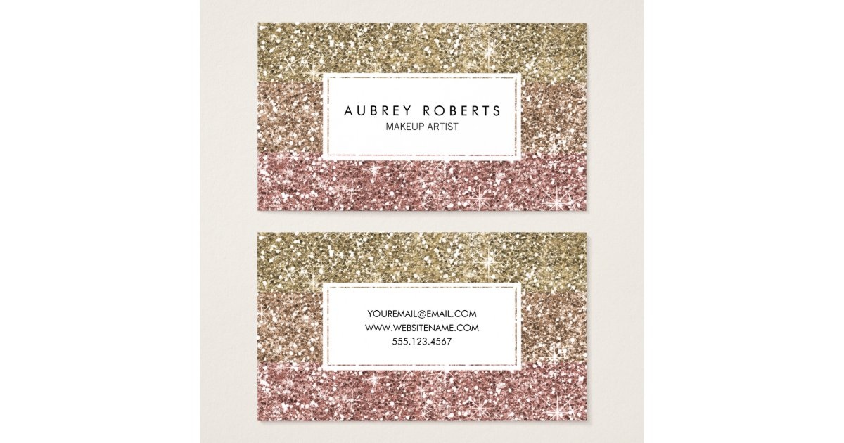 ombre rose pink gold glitter girly business cards zazzlecom - Girly Business Cards