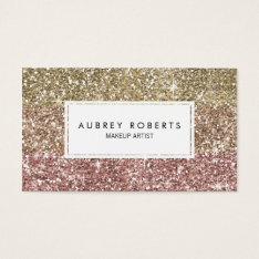 Ombre Rose Pink Gold Glitter Girly Business Cards at Zazzle