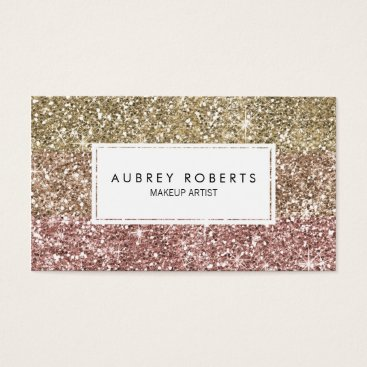 whimsydesigns Ombre Rose Pink Gold Glitter Girly Business Cards