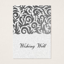 Ombre silver and Black Swirling Border Wedding Business Card