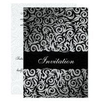 Ombre silver and Black Swirling Border Wedding Card