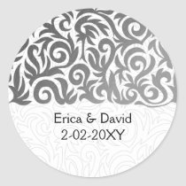 Ombre silver and Black Swirling Border Wedding Classic Round Sticker