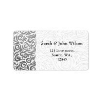Ombre silver and Black Swirling Border Wedding Label