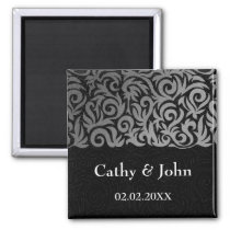 Ombre silver and Black Swirling Border Wedding Magnet