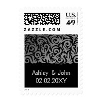 Ombre silver and Black Swirling Border Wedding Postage