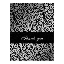 Ombre silver and Black Swirling Border Wedding Postcard