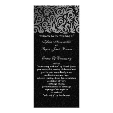 Ombre silver and Black Swirling Border Wedding Rack Card