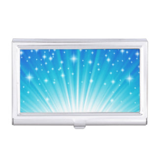 Ombre Starburst white aqua blue light beams Case For Business Cards