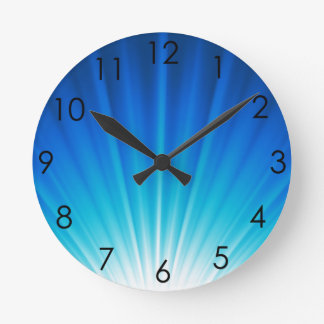 Ombre Starburst white aqua blue light beams Round Clock