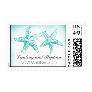 ombre starfish couple wedding postage stamps