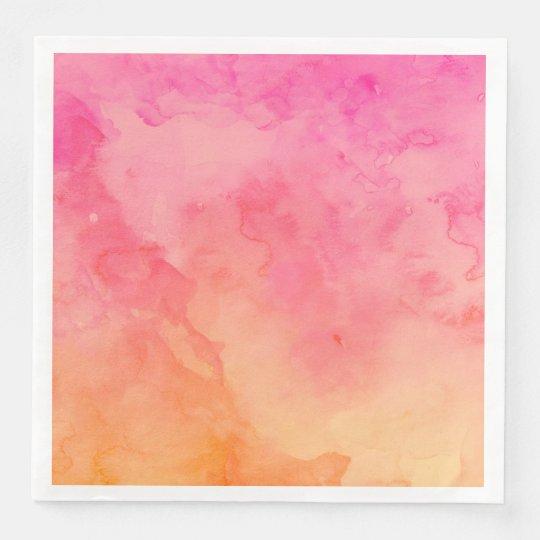 Ombre Summer Pink Orange Sunset Watercolor Wash Paper Dinner Napkin Zazzle