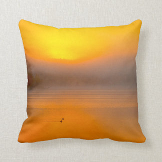 Ombre Sunrise Shining on Two Ducks Nature Photo - Throw Pillow