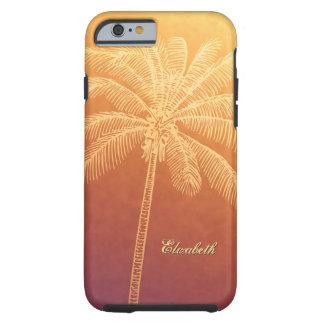 ombre tropical de la puesta del sol de la silueta funda resistente iPhone 6