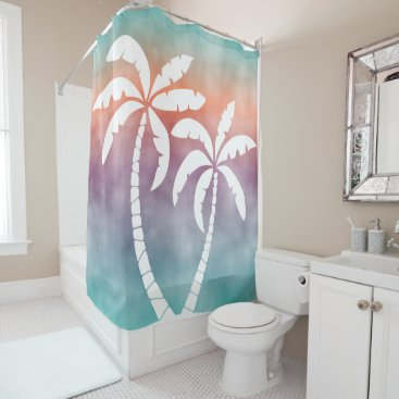 Beach Themed Ombre Turquoise Purple Orange Watercolor Shower Curtain