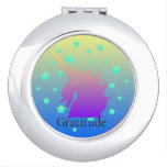 Ombre unicorn with word gratitude makeup mirror
