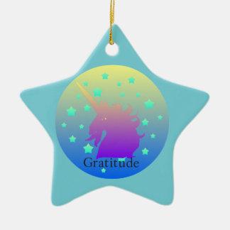 """""""Ombre unicorn with word gratitude"""" Ornament. Ceramic Ornament"""