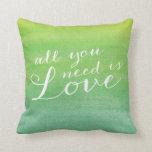 Ombre Watercolor Love Throw Pillow / Lime Emerald Pillows